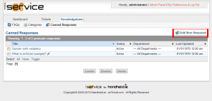 Image of the iService Knowledge base section with the add new response button highlighted