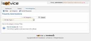 Image of the iService Knowledge base section