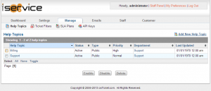 Screenshot of the Admin Panel Manage Tab