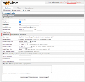 Image of the iService My Preferences Screen with the my preferences button and section header highlighted