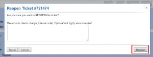 Re-open Closed Ticket Confirmation Screenshot