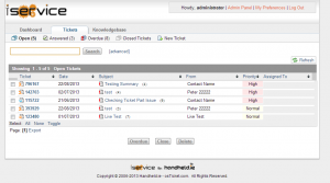 Image of the iService Tickets page showing a list of tickets